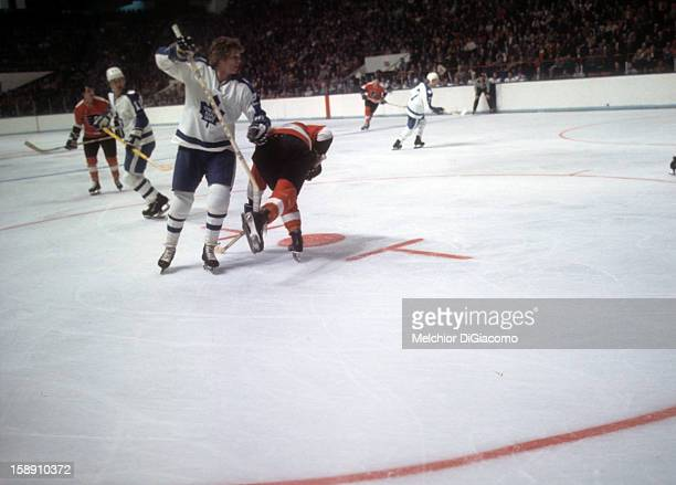 Darryl Sittler of the Toronto Maple Leafs skates on the ice during an NHL game against the Philadelphia Flyers circa 1972 at the Maple Leaf Gardens...