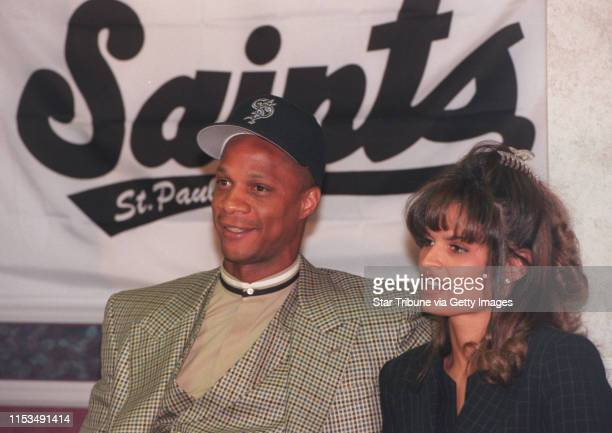 Darryl Strawberry and his wife Charisse at the news conference where it was announced that he had signed with the StPaul Saints for the 1996 season