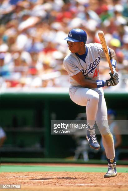 Darryl Strawberry of the Los Angeles Dodgers bats during an MLB game versus the Philadelphia Phillies at Veterans Stadium in Philadelphia...
