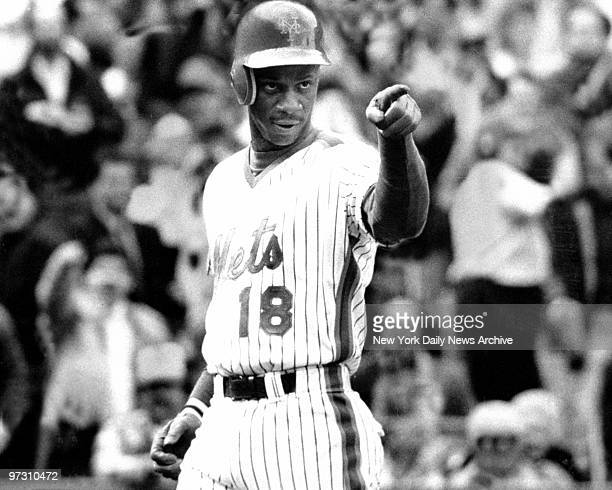 Darryl Strawberry of the New York Mets makes a point at Shea Stadium