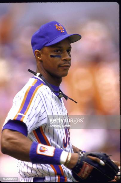 Darryl Strawberry of the New York Mets runs on the field during the game against the Philadelphia Phillies on June 17 1988 at Shea Stadium in...