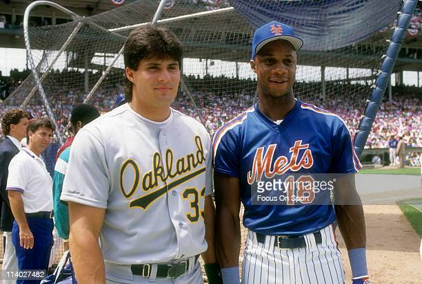 Darryl Strawberry of the New York Mets stands with Jose Canseco of the Oakland Athletics during batting practice before the 1990 MLB All Star Game...