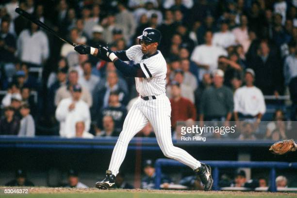 Darryl Strawberry of the New York Yankees bats during Game 2 of the ALDS at Yankee Stadium in the Bronx New York