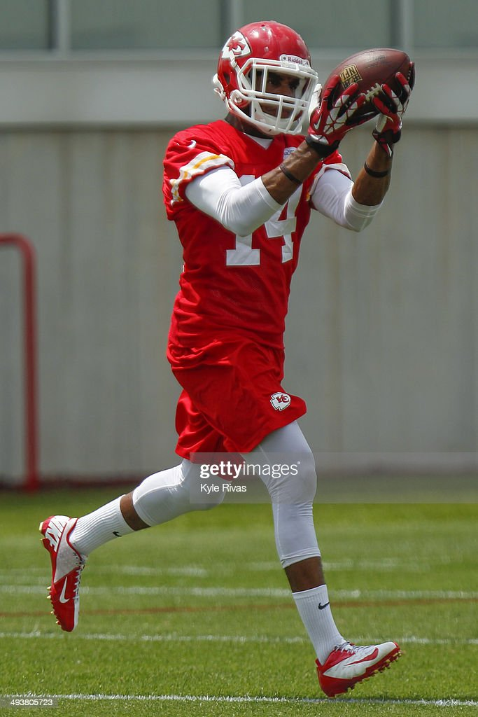 Darryl Surgent #14 of the Kansas City Chiefs catches a pass in drills during the Rookie Minicamp Sunday, May 25, 2014 at the Chiefs Training Facility in Kansas City, Missouri.