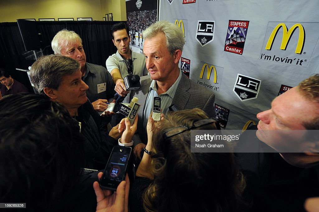 Darryl Sutter speaks to members of the media as the Los Angeles Kings kick-off the club's 2012-13 Regular Season with a press conference featuring Kings Governor Tim Leiweke, President/General Manager Dean Lombardi , President, Business Operations Luc Robitaille and Head Coach Darryl Sutter at Staples Center on January 10, 2013 in Los Angeles, California.
