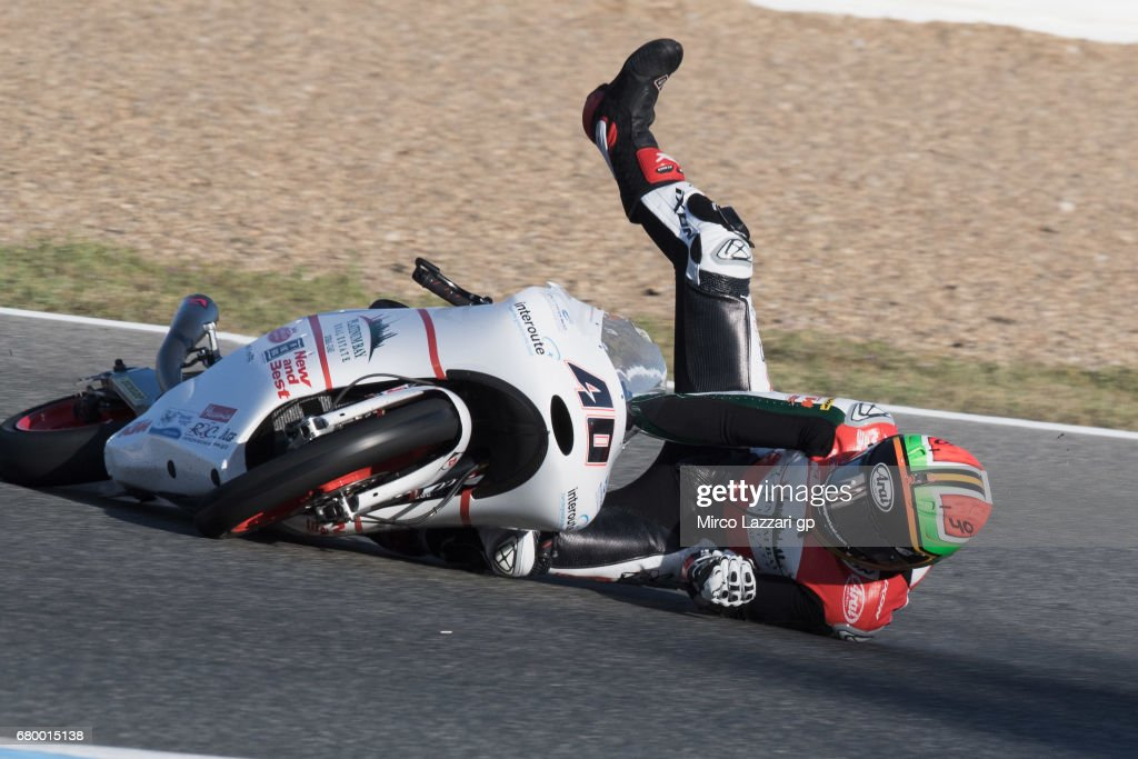 Darryn Binder of South Africa and Platinum Bay Real Estate crashed out during the Moto3 race during the MotoGp of Spain - Race at Circuito de Jerez on May 7, 2017 in Jerez de la Frontera, Spain.