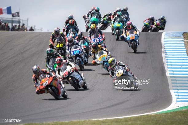 Darryn Binder of South Africa and Red Bull Team Ajo leads the field during the Moto3 race during the MotoGP of Australia Race during the 2018 MotoGP...