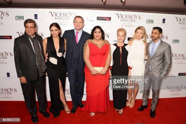 Darsheen Jariwala Huma Qureshi Hugh Bonneville Gurinder Chadha Gillian Anderson Lily Travers and Manish Dayal attend the UK premiere of 'Viceroys's...