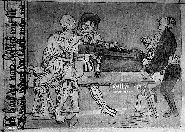 Darstellung über Chirurgie in einem Liber Quodlibetarius aus dem Jahr 1524 Strecken eines gebrochenen Armes in Anwesenheit des Narren der dem...