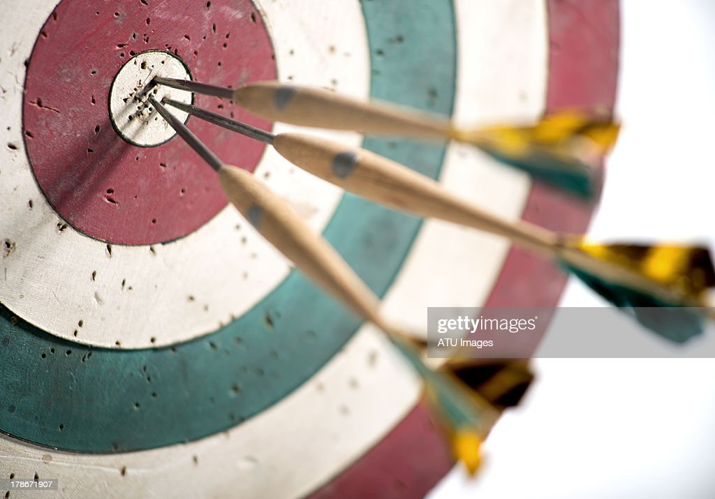 Dart board with selective focus : Stock Photo