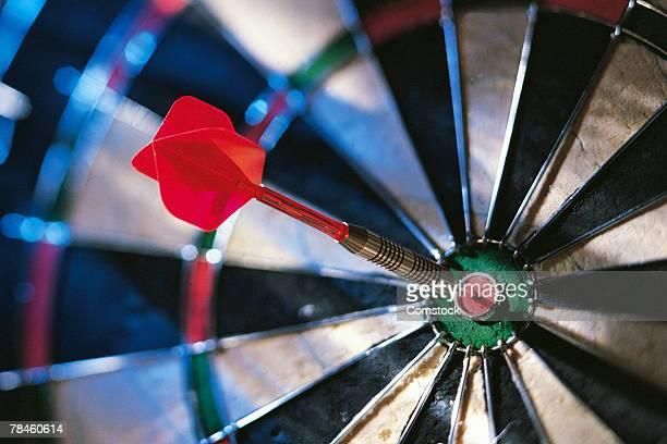 Dart in center of dartboard