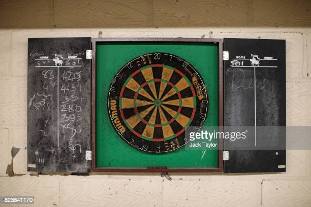 A dartboard sits on the wall of the underground eastbound platform of Mount Pleasant Sorting Office on July 28 2017 in London England The Postal...