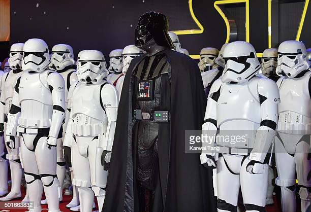 Darth Vadar attends the European Premiere of Star Wars The Force Awakens at Leicester Square on December 16 2015 in London England