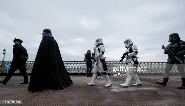 Darth Vader and his Stormtroopers walk among fans on the first day of the Scarborough Sci-Fi weekend at the seafront Spa Complex on April 06, 2019 in...