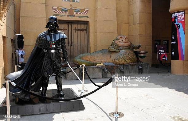 Darth Vader and Jabba The Hutt statues from Gentle Giant Studios at the Entertainment Weekly CapeTown Film Festival Screening Of Star Wars Return Of...