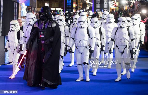 Darth Vader and Storm Troopers attend Star Wars The Rise of Skywalker European Premiere at Cineworld Leicester Square on December 18 2019 in London...