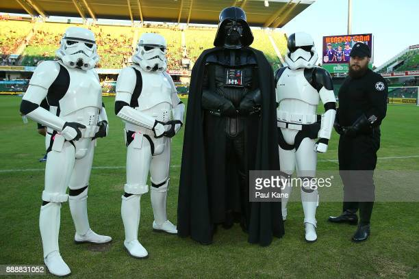 Darth Vader and Storm Troopers pose before the round 10 ALeague match between the Perth Glory and the Newcastle Jets at nib Stadium on December 9...