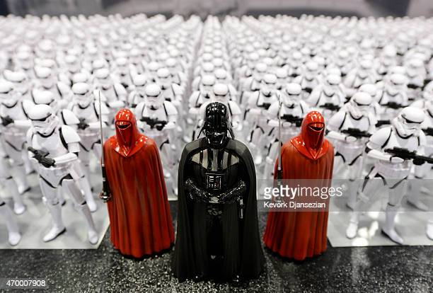 Darth Vader and Stormtrooper figurines are displayed during the kickoff event of Disney's Star Wars Celebration 2015 at the Anaheim Convention Center...