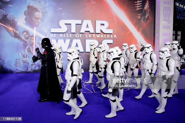 Darth Vader and stormtroopers appear on the red carpet for the European film premiere of Star Wars The Rise of Skywalker in London on December 18 2019