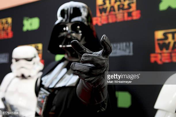 Darth Vader and Stormtroopers arrive at the Disney XD's 'Star Wars Rebels' Season 2 finale event at Walt Disney Studios at Walt Disney Studios on...