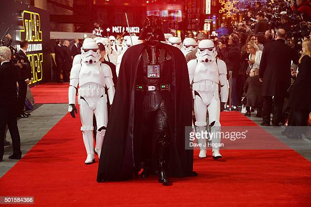 Darth Vader and Stormtroppers attend the European Premiere of 'Star Wars The Force Awakens' at Leicester Square on December 16 2015 in London England