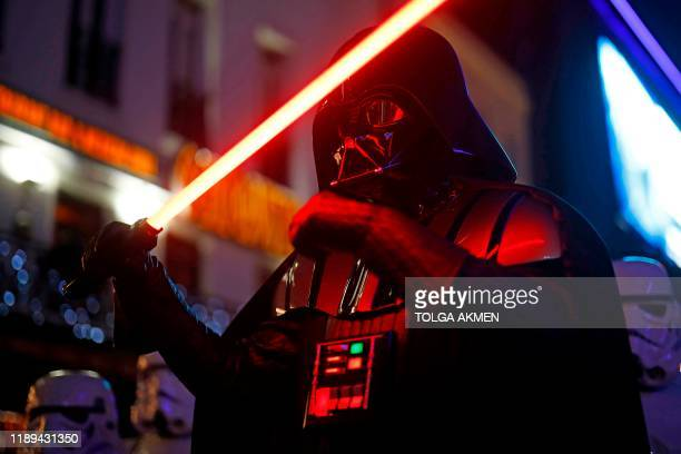Darth Vader appears at the European film premiere of Star Wars: The Rise of Skywalker in London on December 18, 2019.
