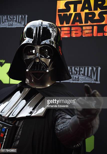 Darth Vader arrives at Disney XD's 'Star Wars Rebels' Season 2 finale event at Walt Disney Studios on March 28 2016 in Burbank California