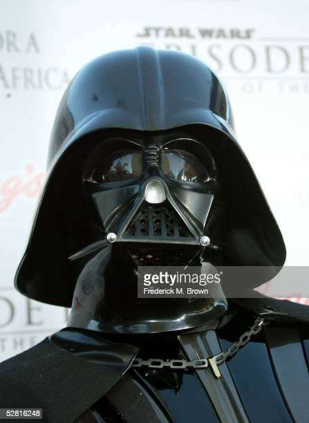 Darth Vader arrives at the Star Wars Episode III Revenge Of The Sith Los Angeles Premiere at the Mann Village Theatre on May 12 2005 in Westwood...