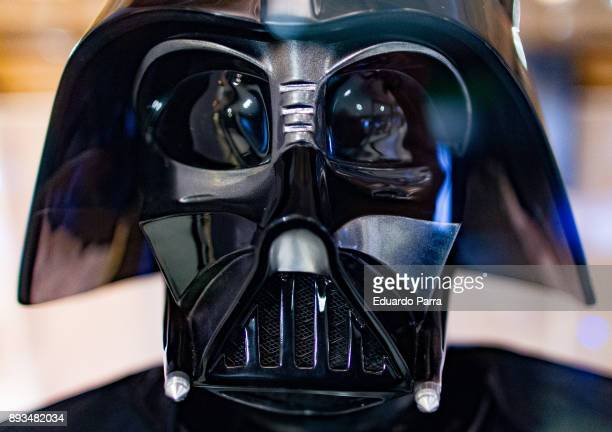 Darth Vader figure is exhibited at the 'Star Wars Exhibition' at Telefonica flagship store on December 15 2017 in Madrid Spain
