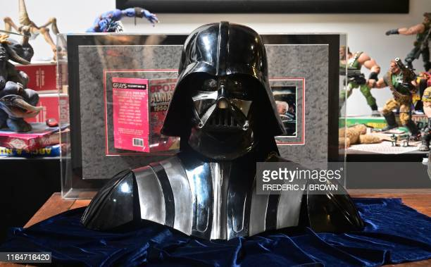 A Darth Vader helmet and mask from the film The Empire Strikes Back on display at the Profiles in History auction house on August 28 2019 in...