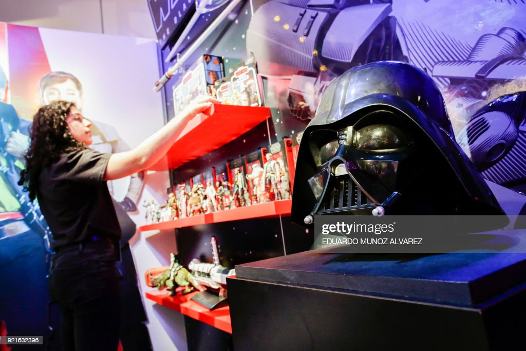 A Darth Vader mask is displayed in the Star Wars booth at the Hasbro showroom during the annual New York Toy Fair, on February 20, 2018, in New York. /