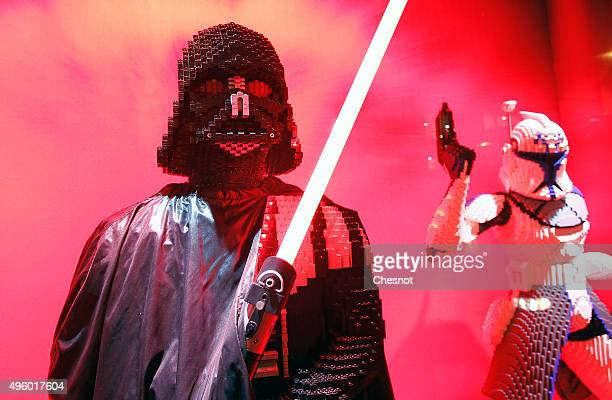 Darth Vader sculpture made with Lego bricks from the Star Wars movie 'Star Wars Episode VII The Force Awakens' is displayed during the Christmas...