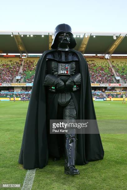 Darth Vader walks from the field following the coin toss during the round 10 ALeague match between the Perth Glory and the Newcastle Jets at nib...