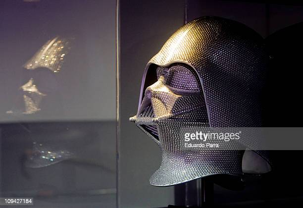 Darth Vader's helmet collector made in connection with the movie 'Star Wars Episode III Revenge of the Sith 'is displayed on the exhibition...