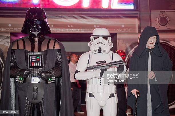 Darth Vador and Emperor Palpatine with a Stormtrooper at the Star Wars Saga release party at Virgin Megastore Champs-Elysees on September 13, 2011 in...