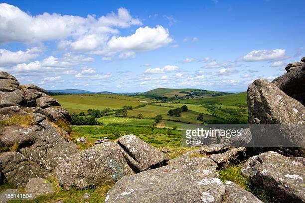 Dartmoor countryside from Hound Tor, Devon, UK