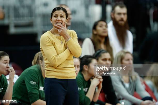 Dartmouth Big Green head coach Belle Koclanes reacts during a game between the Dartmouth College Big Green and the Ohio State Buckeyes on December 15...