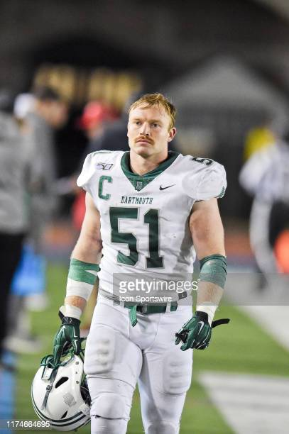 Dartmouth Big Green linebacker Jack Traynor looks on during the game between the Penn Quakers and the Dartmouth Big Green on October 4 2019 at...