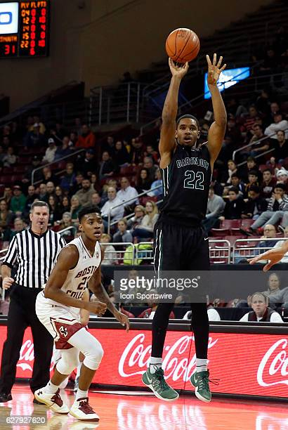 Dartmouth College guard Miles Wright puts up a three during an NCAA Division 1 men's basketball game between the Boston College Eagles and the...