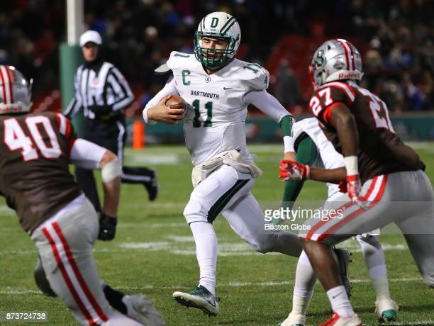 Dartmouth College quarterback Jack Heneghan runs for a short second quarter gain Dartmouth College faces Brown University in a college football game...