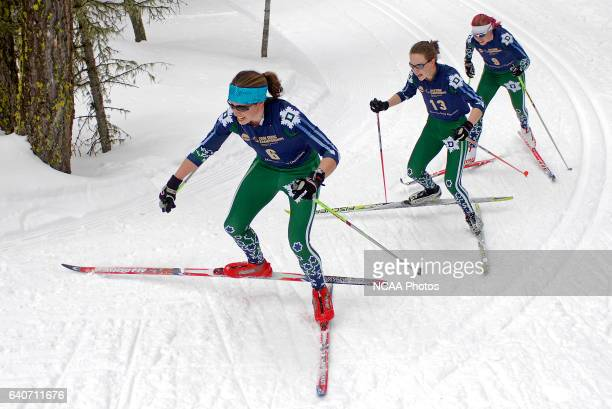 Dartmouth College skiers Susan Dunklee Elsa Sargent and Rosie Brennan climb a hill during the Women's 15k classic as part of the Men's and Women's...
