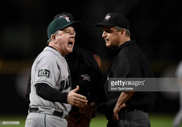 Dartmouth Head Coach Bob Whalen protests a balk ruling which allowed the winning run to score during a college baseball game between the Dartmouth...