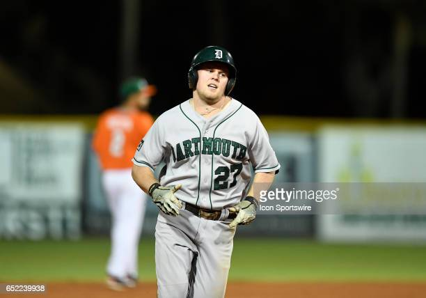 Dartmouth infielder Michael Ketchmark hit a home run during a college baseball game between the Dartmouth College Big Green and the University of...