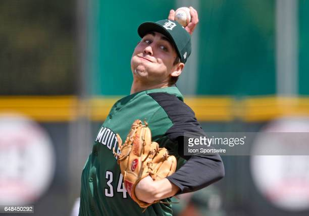Dartmouth right handed pitcher Michael Danielak pitches during a college baseball game between the Dartmouth College Big Green and the University of...