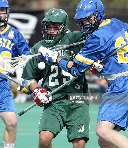 Dartmouth's Brandon Charles looses control of the ball under the pressure of Hofstra's John Orsen at Harvard University's Jordan Field during The...