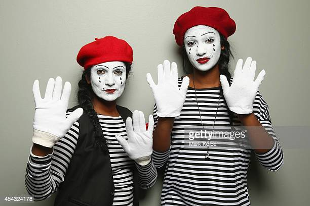 Darts fans in mime fancy dress pose as they arrive during the Sydney Darts Masters at Hordern Pavilion on August 29 2014 in Sydney Australia