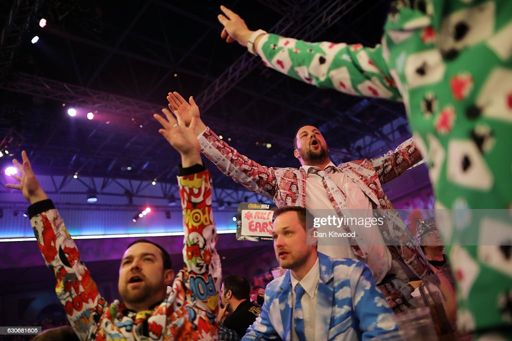 Darts fans watch the quarter finals of the 2016 William Hill World Darts Championship on December 30, 2016 in London, England. The event is world's biggest darts tournament, with 72 players from across the globe competing across 15 days of the knock out competition.