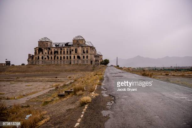 darul aman palace - afghanistan war stock photos and pictures