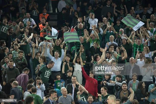Darussafaka Istanbul supporters in action during the 7DAYS EuroCup Basketball Finals game two between Darussafaka Istanbul v Lokomotiv Kuban...