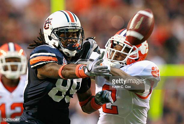Darvin Adams of the Auburn Tigers fails to pull in this reception against DeAndre McDaniel of the Clemson Tigers at JordanHare Stadium on September...